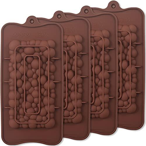 ionEgg Bubbles Break Apart stampi in silicone per barrette di cioccolato, stampi per barrette proteiche ed energetiche fatti in casa, 4 confezioni