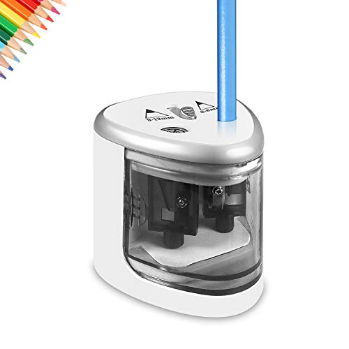 Electric Pencil Sharpener, Heavy-duty Helical Blade to Fast Sharpen, Battery Operated in School Classroom/Office/Home, White
