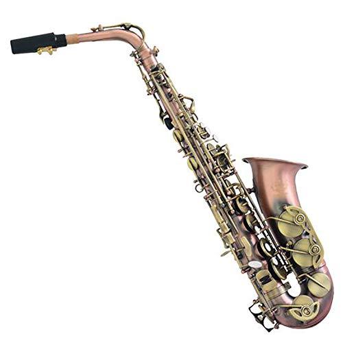 Alto Saxophon Rotes Kupfer-Cyan-Zubehör E Flache Sax weiß natur Shell Knopf Blasinstrumente Saxophon Geeignet für professionelle Leistungen/Hobbys
