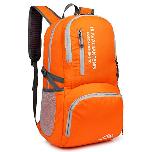 Crenze 35L Lightweight Foldable Backpack Travel Hiking Daypack, Men Women Durable Handy Waterproof Rucksack for Camping Mountaineering Walking Cycling Climbing (Orange)