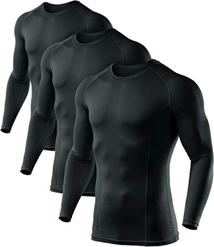 ATHLIO Men's Cool Dry Fit Long Sleeve Compression Shirts, Active Sports Base Layer T-Shirt, Athletic Workout Shirt, 3pack(bls01) - Black/Black/Black, Large