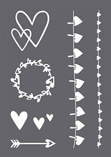 Rayher 45128000 Schablonen Set Herz mit selbstklebender Siebdruck-Schablone und Rakel für Papiergestaltung, Scrapbooking und Textiles Gestalten, A4