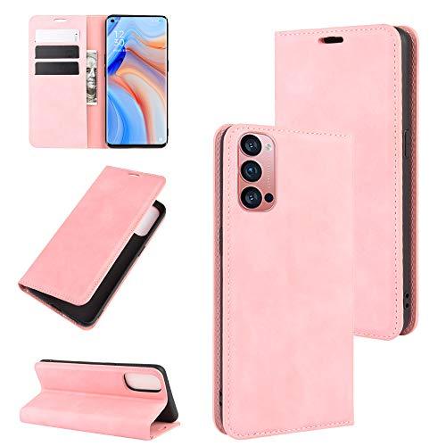 Fertuo Hülle für Oppo Reno 4 Pro 5G, Handyhülle Leder Flip Hülle Tasche mit Kartenfach, Magnetverschluss, Silikon Innenschale Schutzhülle Cover Lederhülle für Oppo Reno 4 Pro 5G Smartphone, Rosa