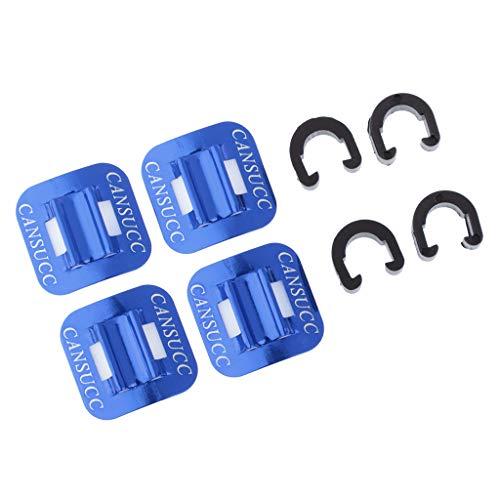 F Fityle 4 Stück Fahrrad Bremszubehör Kabelführung mit C-Clip MTB Zugbefestigung Klammer - Blau