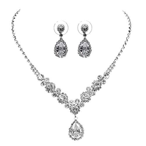 Parure de bijoux de mariage avec pendentif en argent et...