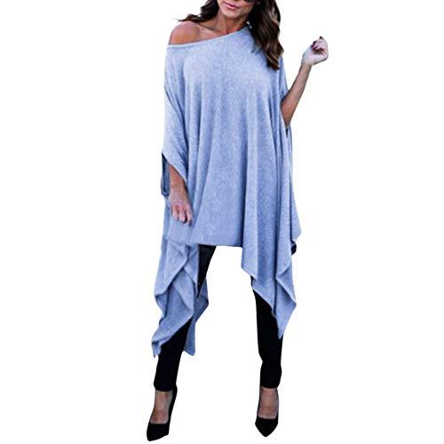 Xmiral Damen Bluse Tops Plus Size Batwing Sleeve Kostüm für Rollenspiel, Karneval, Fasching, Mottoparty, Maskerade(3XL,Blau)