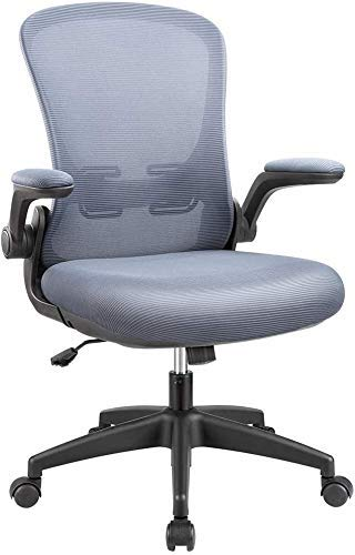 KaiMeng Office Task Desk Chair Mid High Back Mesh Swivel Ergonomic Home Chairs with Flip-up Arms and Adjustable Height, Grey