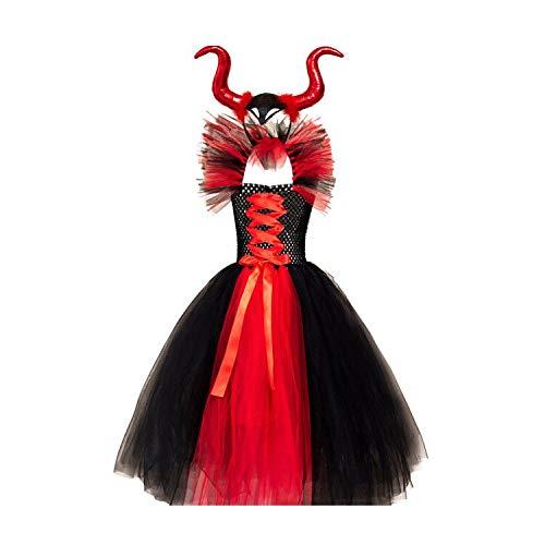 Disfraz de malfica para nios, vestido de tul de punto hecho a mano, con diadema de cuerno de bruja malvada, Halloween, carnaval, cosplay, fiesta