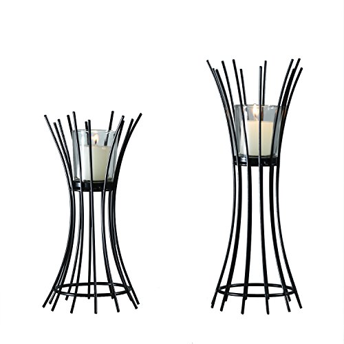 ELEGAN Decorative Tabel Metal Window Led Tealight Pillar Glass Candle Holder for Home Decor (Set of 2)