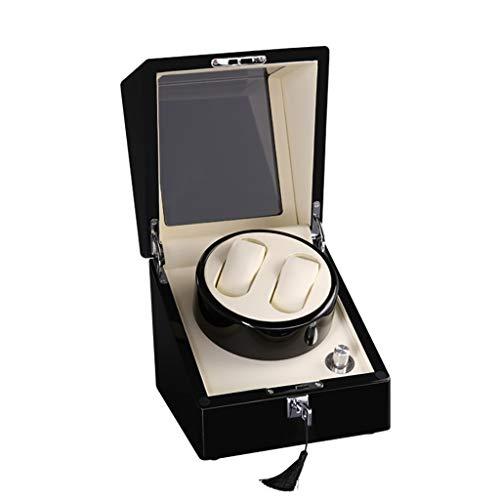 Uhrenbeweger Doppel-Uhrenbeweger Automatik für 2 Uhren mit Etui für Display 5 Rotationsmodi, leiser Motor, Farbe für Klavier, 10 Rotationsmodi, konv