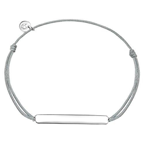 Glanzstücke München Damen-Armband Schildarmband zum Gravieren Sterling Silber textil grau flexibel verstellbar 15 cm - 22 cm - Gravur-Amband personalisiert Silberarmband
