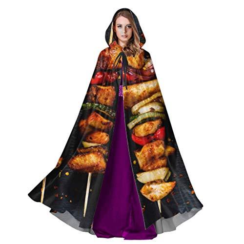 Yushg Alitas de Pollo asado y Especias Disfraz de Capa Adulto Capucha Capa 59 Pulgadas para Navidad Disfraces de Halloween Cosplay