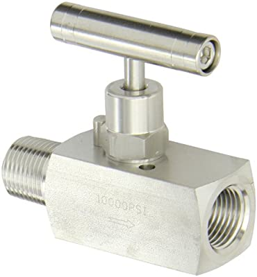 """PIC Gauge NV-SS-1/2-HS-180-MXF 316 Stainless Steel Straight Needle Valve with Hydraulic Service Seat, 1/2"""" Male NPT x 1/2"""" Female NPT Connection Size, 10000 psi Pressure by PIC Gauges"""