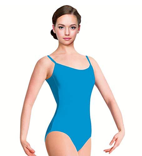 Maillot de Danza Ballet Gimnasia Leotardo Body Clásico Elástico para Mujer de Tirantes Cuello Redondo (01093 Azul, M)