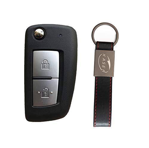 KASER Carcasa para llave para Nissan Qashqai X-Trail Juke Micra Murano con mando a distancia de 2 botones, con hoja y llavero