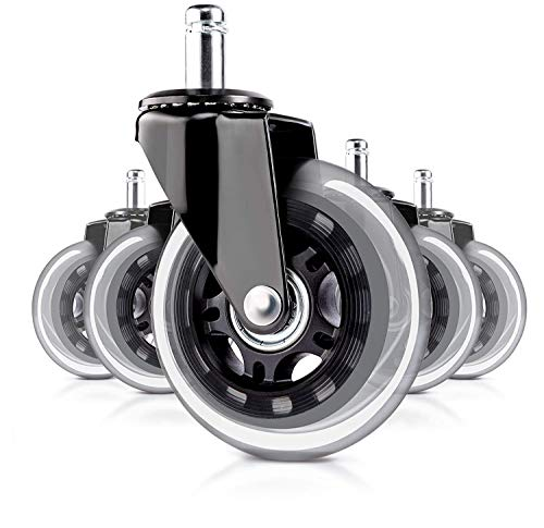 3 Inch Office Chair Wheels Caster Heavy Duty & Safe for Hardwood Floors & Carpet- Replacement Rubber Universal Chair Wheels for Chairs to Replace Office Chair Mats Set of 5