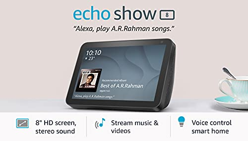 Introducing Echo Show 8 – Smart display with Alexa - 8' HD screen with stereo sound – Black