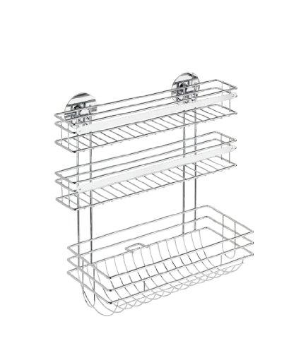 Wenko Turbo-Loc Küchenrollenhalter Trio, Befestigen ohne bohren, 32,5 x 34 x 15 cm, silber glänzend
