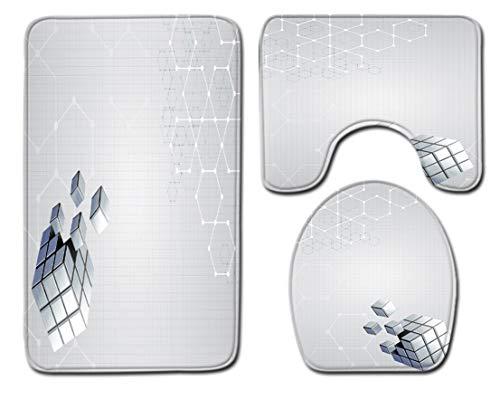 Badmat Kleed 3-Delige Set Zachte 3D Geometrische Vierkanten Print Toiletbril Cover Badmat Deksel Cover Badmat Family Home Decor