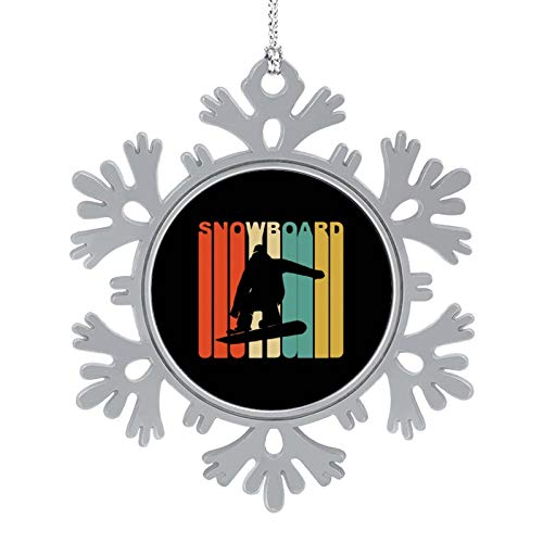 Puilkfgt Retro 1970's Style Snowboarder Silhouette Snowboard Personalized Snowflake Ornaments Christmas Tree Hanging Accessories Christmas Decorations