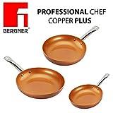 Original Chef Copper Plus - Juego 3 sartenes de cobre súper resistentes! Diámetro 18/22/26 Revestimiento antiadherente sin PFOA - sartenes de color red base adecuada para la cocina de inducción 1093