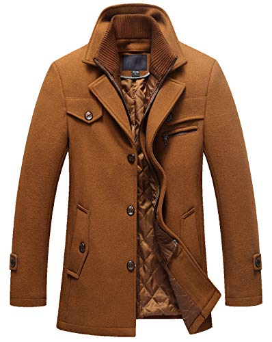 chouyatou Men's Gentle Layered Collar Single Breasted Quilted Lined Wool Blend Pea Coats (Large, Brown)