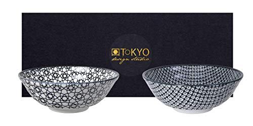 TOKYO design studio Nippon Black 2-er Schalen-Set schwarz-weiß, Ø 21 cm, ca. 1000 ml, asiatisches Porzellan, Japanisches Design mit Mustern in schwarz, inkl. Geschenk-Verpackung