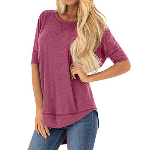Kviklo Damen Plus Size T-Shirt Kurzarm O-Neck Nähte Solide Einfarbig Tops Oversize(L(42),Fuchsie)