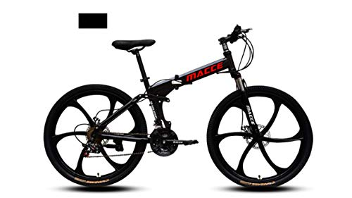 INFANDW Bicicleta de montaña Plegable 26 Pulgadas de Velocidad Variable Cross-Country Racing Doble Amortiguador Bicicleta para Hombres y Mujeres (Negro 6 Cuchillos)