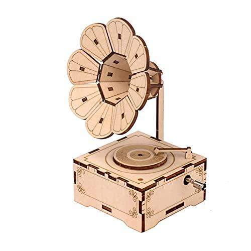 Fonógrafo retro Rompecabezas de madera 3D Caja de música con manivela Gramófono vintage Ensamblaje de bricolaje Kit de modelo de artesanía Decoración del hogar Regalo educativo para cumpleaños