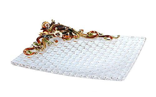 RORO Wedding Gift, Enameled and Jeweled Bohemia Crystal Snail Fruit Plate, Swarovski Decoration, Luxury Home Accessories