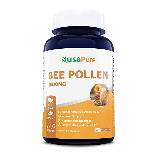 Bee Pollen 1500mg 200 Veggie Caps (100% Vegetarian, Non-GMO & Gluten Free) Naturally Rich in B Vitamins, Proteins, Carbohydrates and Digestive Enzymes