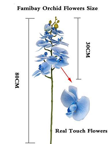 Famibay Blanca Flores Artificial Orquideas Rama de Orquídeas Boda Flores Decorativa Interior 2PCS