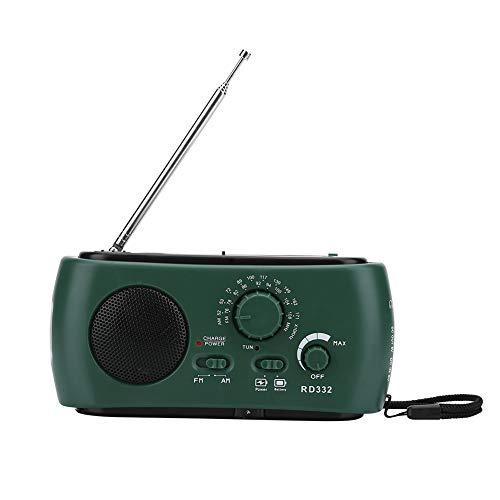 Marhynchus Solar Handkurbel AM/FM-Radio mit LED-Taschenlampe Notruf-Ladegerät (dunkelgrün) 3-LED für Taschenlampe