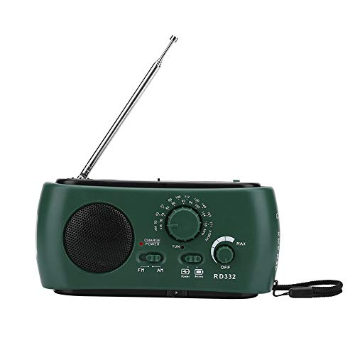 T best Solar Hand Crank Radio, Portable AM/FM Radio with LED Flashlight USB Phone Charger for Camping (Dark Green)