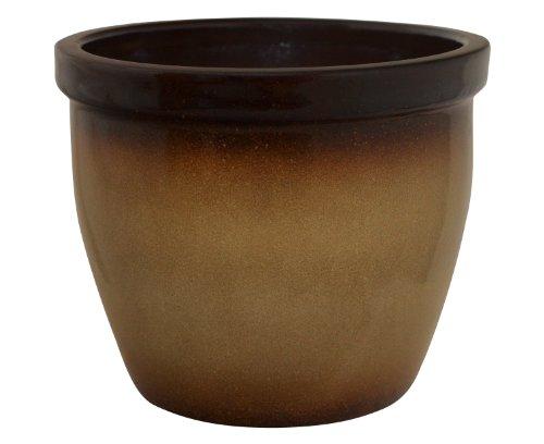 K&K Blumenkübel / Pflanzgefäß / Blumentopf / Pflanzkübel Venus II , 28 x 20 cm, braun-geflammt aus Steinzeug-Keramik (hochwertiger als Steingut)