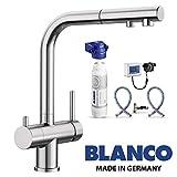 Designer 3 Wege Armatur BLANCO Edelstahl Optik UltraResist mit ausziehbarer Brause inkl. BWT Wasserfilter ! Der Wasserhahn mit 3 Anschlüssen und einer'echten' ausziehbarer Handbrause