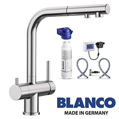Designer 3 Wege Armatur BLANCO Edelstahl Optik UltraResist mit ausziehbarer Brause inkl. BWT Wasserfilter ! Der Wasserhahn mit 3 Anschlüssen und einer