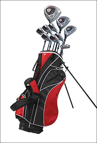 Exceptional Men's Right Handed Complete Golf Club Set, Set Includes: 460cc Driver, 3 Wood, 21 Hybrid, 5, 6, 7, 8, 9, PW Irons with True Temper Shafts, Putter, Deluxe Stand Bag & 3 Bonus Headcovers
