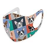 Boston Terriers Tile Bulldog Dog Set patrón de máscara diaria, protección bucal, reutilizable, cubierta contra el polvo de la cara para adultos al aire libre, camping, correr, ciclismo