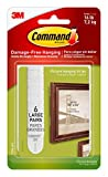 Command 17206-6ES Heavy Duty, Holds 16 lbs Picture Hanging Strips, 24 Pairs, White, 4 Pack