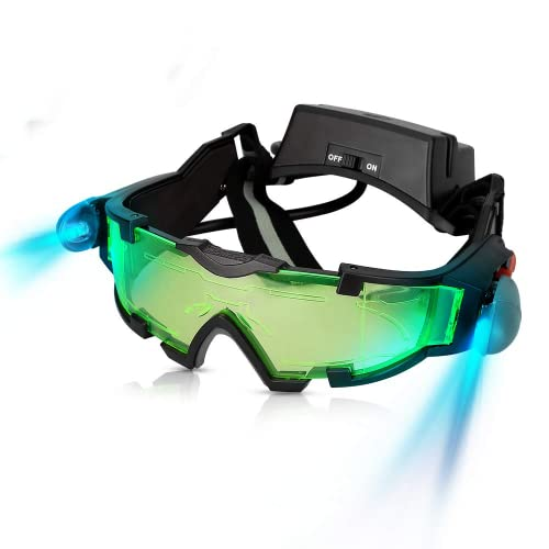 AGM Kids Night Vision Goggles, Adjustable Spy Gear Night Mission Goggles with Flip-Out Lights Green...