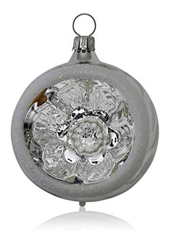 Lauschaer Glas Reflexkugeln silber mit Dekor 4 Stück Christbaumschmuck Weihnachtsschmuck mundgeblasen, handdekoriert Original