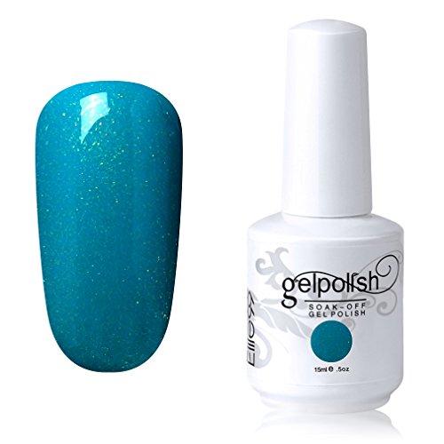Elite99 Soak-off Gel Polish Lacquer Nail Art UV LED Manicure Varnish 15ml Shimmer Peacock Green 1055