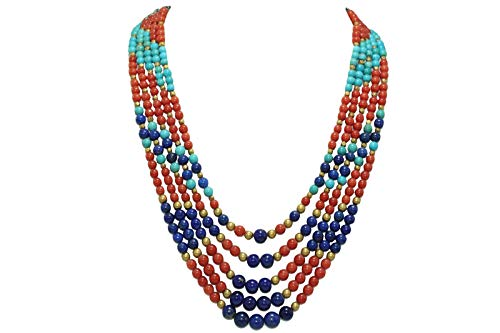 Rajasthan Gems - Collana da donna con 5 linee in vero corallo, turchese e lapislazzuli