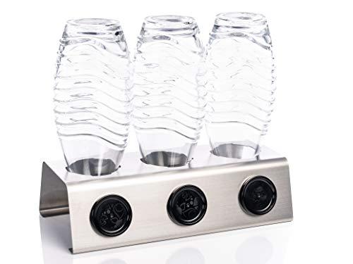 Streambrush Two in ONE Abtropfhalter und Spülmaschineneinsatz Edelstahl kompatibel mit Sodastream Duo I Crystal & Emil Flaschen - Flaschenhalter mit praktischer Deckelhalterung | Made in Germany 3X