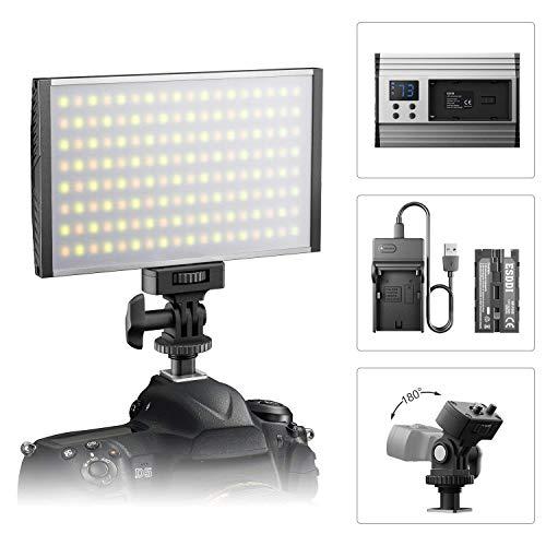 ESDDI Faretto a led fotografico, Video Luce, dimmerabile 3200-5600K regolabile, CRI 95, con batteria e caricabatteria, aretto montatura fotocamera, pe