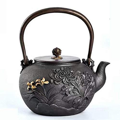 Tetera de hierro fundido estilo tetera de hierro fundido estilo tetera tetera de hierro fundido puro olla olla de hierro a mano tetera flor 1,5 l taza de té Tetsubin