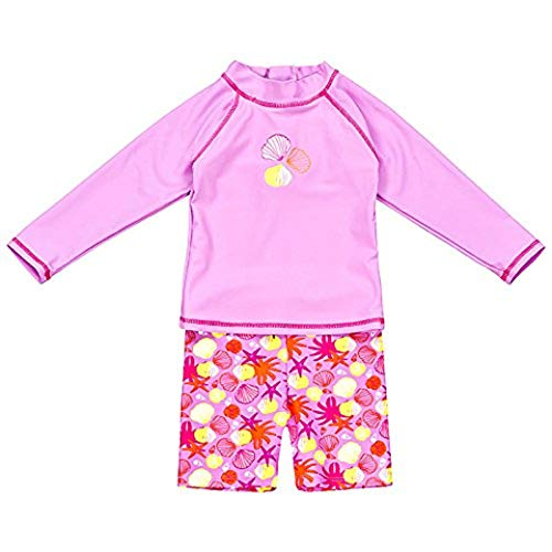 Landora®: Baby- / Kleinkinder-Badebekleidung langärmliges 2er Set in violett; Größe 74/80