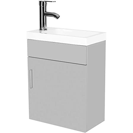 16 Inch Modern Bathroom Vanity Cabinet Wall Mounted Pvc Vanity And Sink Combo With Ceramic Vessel Sink Chrome Faucet And Pop Up Drain For Small Bathroom Amazon Com